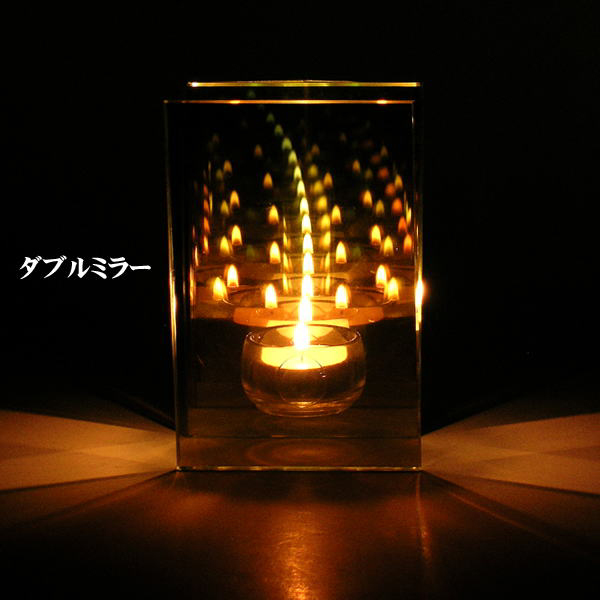 blueman endless chain candle holder double mirror glass candle