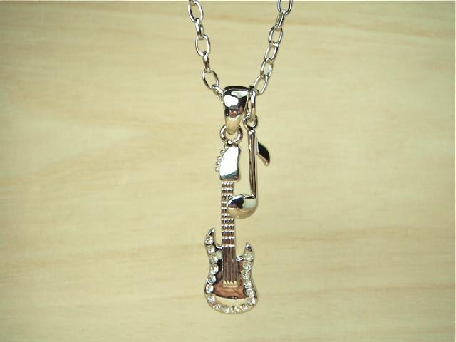 ストーン入りギター音符ネックレス ギターアクセサリー 音楽好きさんに ミュージックシリーズ 8分音符 送料無料