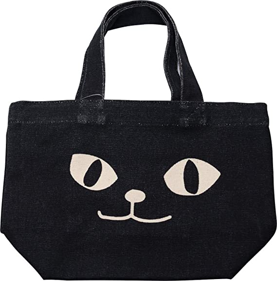トートバッグ ネコマンアップ ブラック ミニトートバッグ 内ポケット付き お散歩バッグ お散歩やお弁当にピッタリなサイズです 猫 送料0円 ねこ 黒猫 ネコマンジュウ ネコ 期間限定で特別価格 フレンズヒル 送料無料 NEKOMANJU