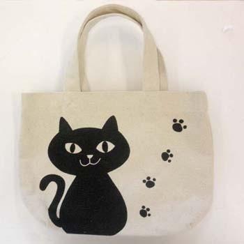 トートバッグ イタズラキュート ナチュラル ミニトートバッグ 内ポケット付き お散歩バッグ お散歩やお弁当にピッタリなサイズです 猫 誕生日 お祝い 送料無料 フレンズヒル ネコ ネコマンジュウ 黒猫 NEKOMANJU 公式 ねこ