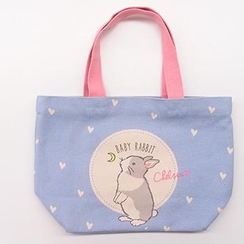 有名な トートバッグ オネガイチェルシー ブルー ミニトートバッグ 内ポケット付き お散歩バッグ 送料無料 ウサギ うさぎ お散歩やお弁当にピッタリなサイズです ラビット 有名な