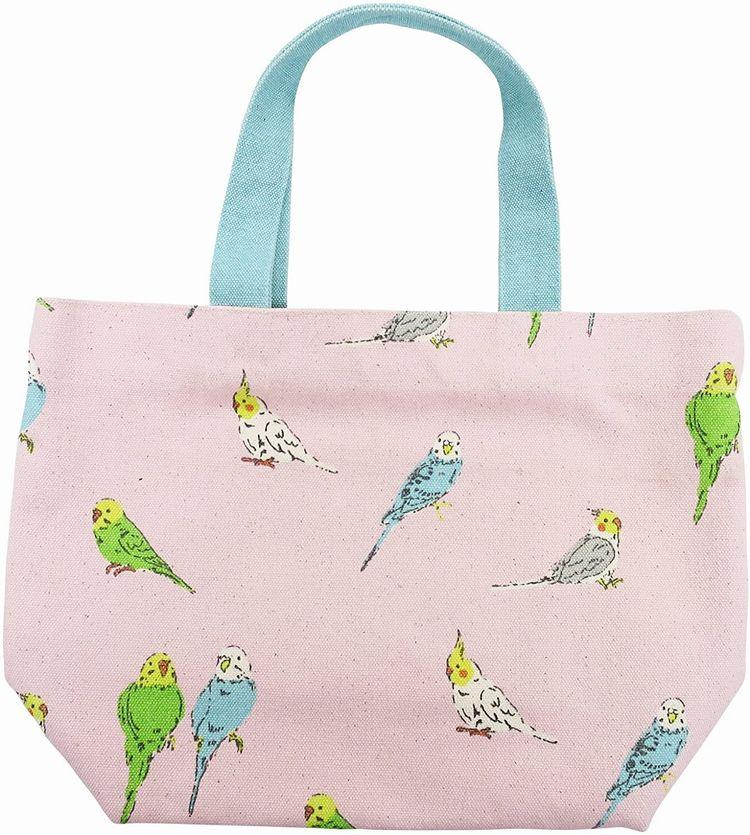 可愛い小鳥たちのバッグです 値下げ ミニトートバッグ チュチュコール ピンク セキセイインコ オカメインコ お散歩やお弁当にピッタリなサイズです 鳥グッズ お散歩バッグ 送料無料 インコグッズ 帆布バッグ お弁当バッグ 大決算セール ランチバッグ フレンズヒル