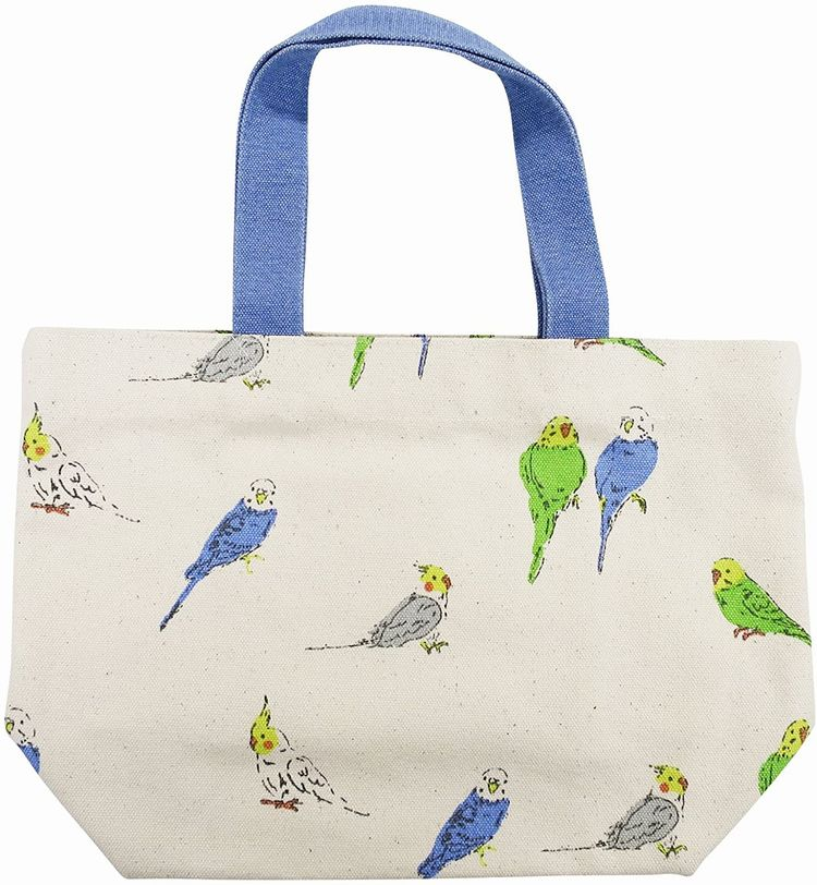 可愛い小鳥たちのバッグです ミニトートバッグ チュチュコール ナチュラル セキセイインコ オカメインコ お散歩やお弁当にピッタリなサイズです 鳥グッズ 送料無料 お弁当バッグ 2020春夏新作 インコグッズ フレンズヒル ランチバッグ 帆布バッグ [正規販売店] お散歩バッグ