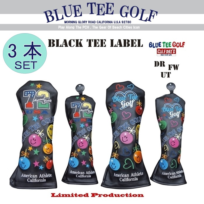 ☆ブルーティーゴルフ BLUE TEE GOLF California 【アゲインスト パー72&ラブ ゴルフ】ヘッドカバー3本セット販売Limited Production BLACK TEE LABEL【カラー:ブラック】