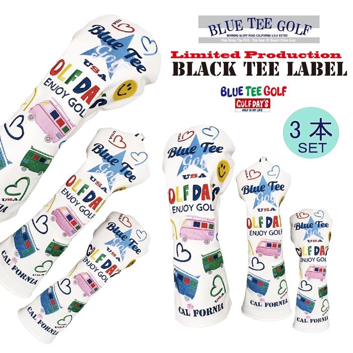 ☆ブルーティーゴルフ BLUE TEE GOLF California 【ワーゲンバス モデル】3本セット販売 キャットハンド ヘッドカバーLimited Production BLACK TEE LABEL