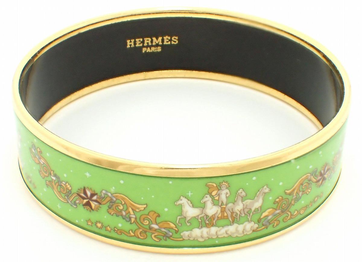 【ジュエリー】HERMES エルメス エマイユGM バングル 七宝焼 グリーン ゴールド 【中古】【u】