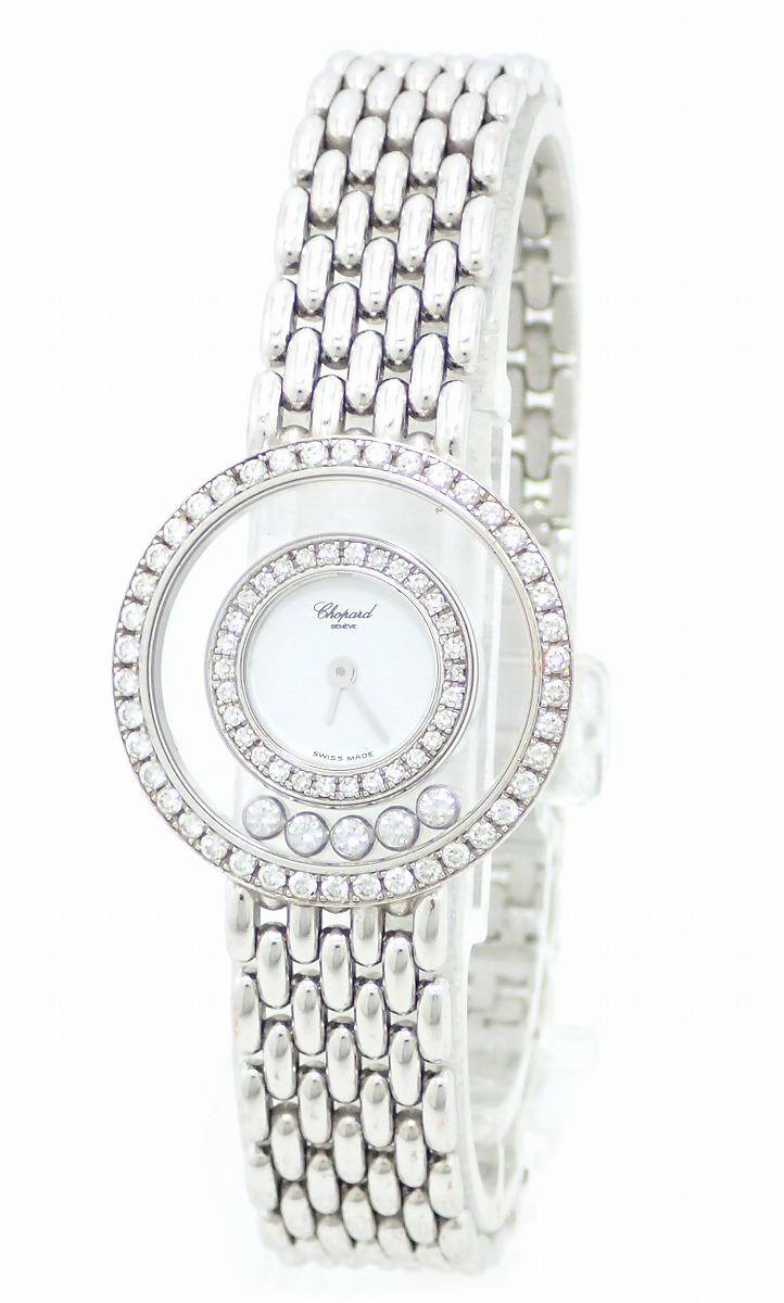 【ウォッチ】【OH・新品仕上げ済】Chopard ショパール ハッピーダイヤ 5Pムービングダイヤ ダイヤベゼル K18WG ホワイトゴールド 無垢 レディース 腕時計 4119/1 【中古】【u】
