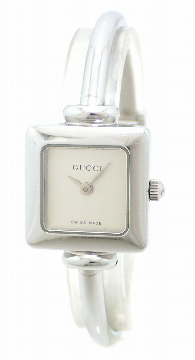 3990fad70196 【ウォッチ】GUCCI グッチ バングル ウォッチ シルバー文字盤 レディース QZ クォーツ 腕時計 1900L YA19509