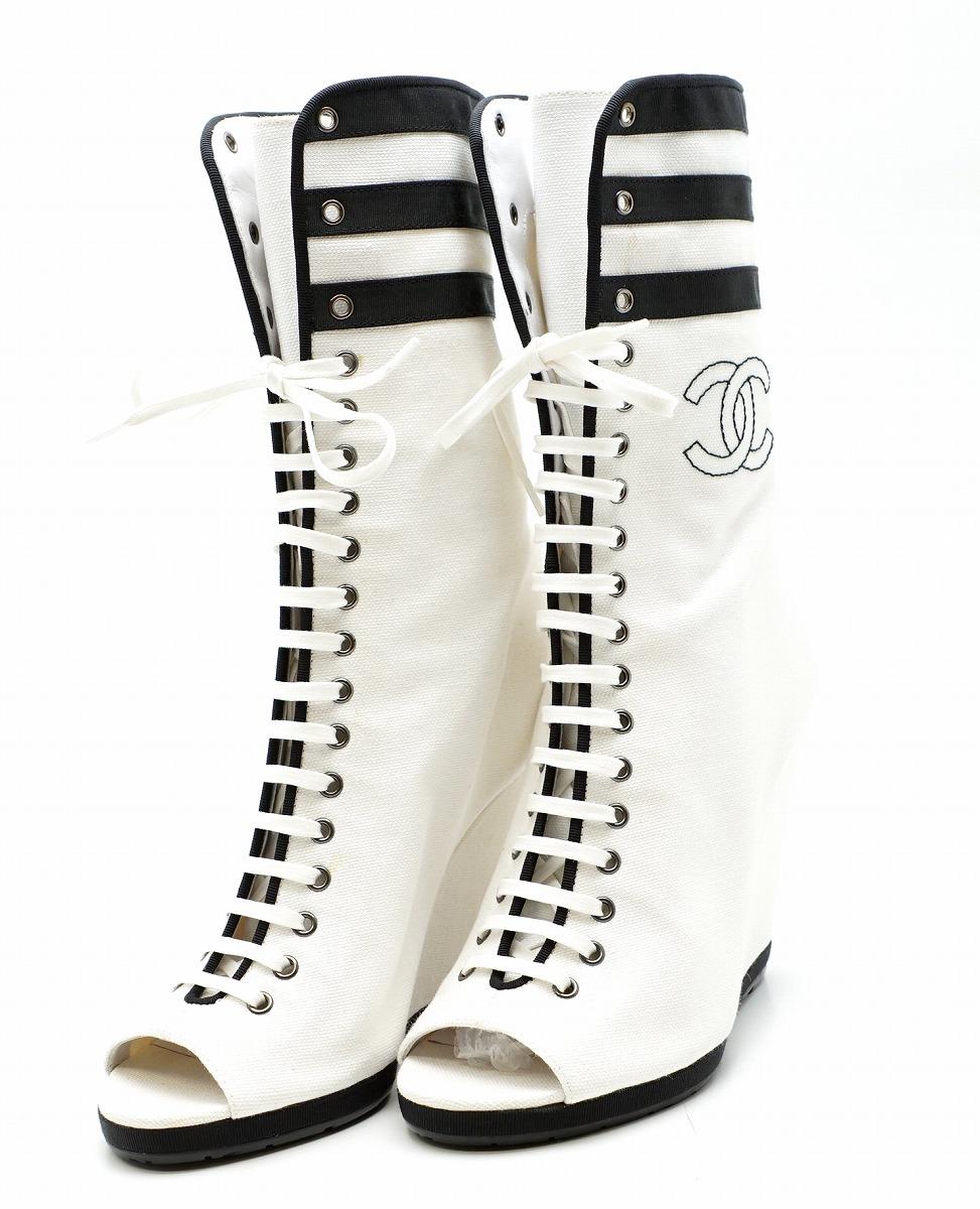 【靴】CHANEL シャネル オープントゥブーツ レースアップ 編み上げ ココマーク キャンバス 白 ホワイト 黒 ブラック サイズ#37 23.5cm 【中古】【k】