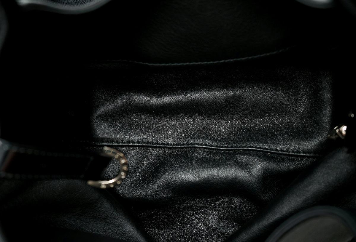 バッグ BVLGARI ブルガリ チャンドラ ハンドバッグ 2WAY ショルダーバッグ セミショルダー ワンショルダー キャンバス レザー ブラック 黒kBlumin 森田質店質屋出店WEIeH9YD2