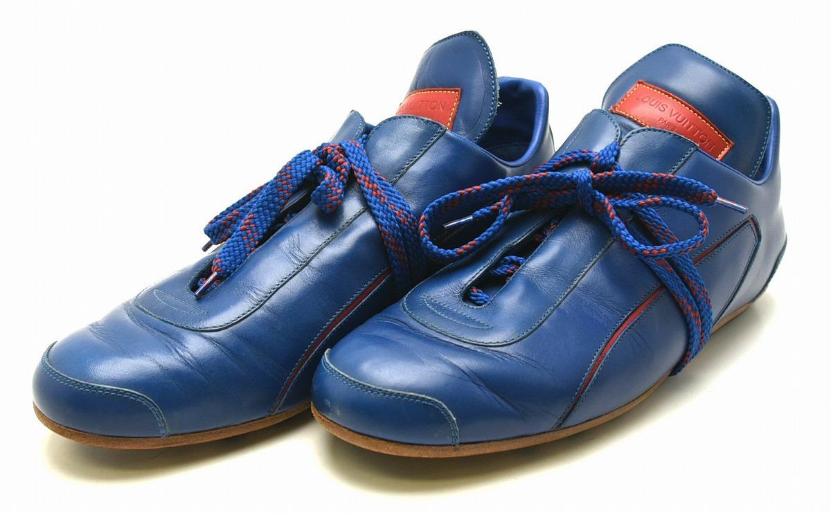 【靴】LOUIS VUITTON ルイ ヴィトン メンズ 2002年 日韓ワールドカップ記念 フットボールシューズ シューズ スニーカー レザー 赤 青 レッド ブルー サイズ#7 【中古】【k】