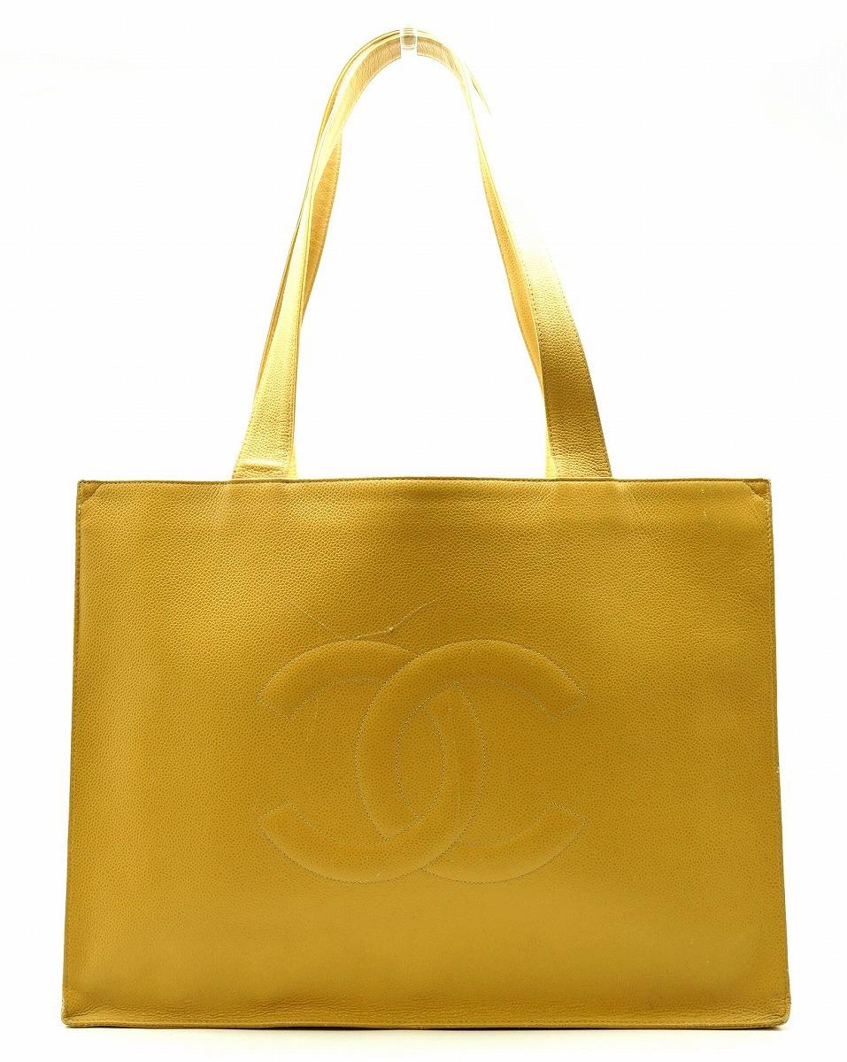 31cb8f0922df 【バッグ】CHANEL シャネル ココマーク キャビアスキン トートバッグ ショルダーバッグ ショルダートート 黄色