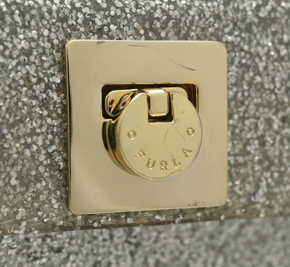 38ed02c8a751 【バッグ】FURLAフルラグリッターキャンディハンドバッグショルダーバッグ2WAYPVCラメグレーシルバーゴールド金具