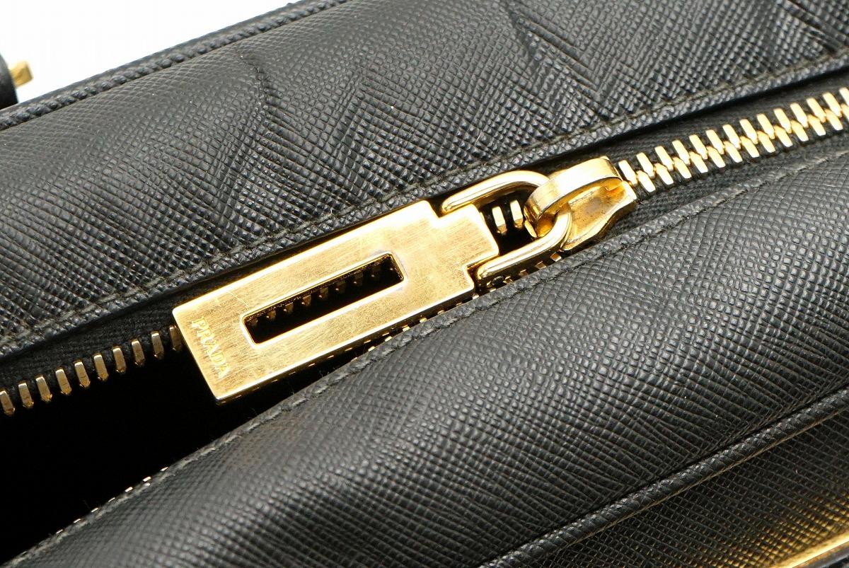 9c19153d43cb 【バッグ】PRADAプラダサフィアーノ2WAYショルダーバッグハンドバッグSAFFIANOレザー黒ブラックゴールド金具
