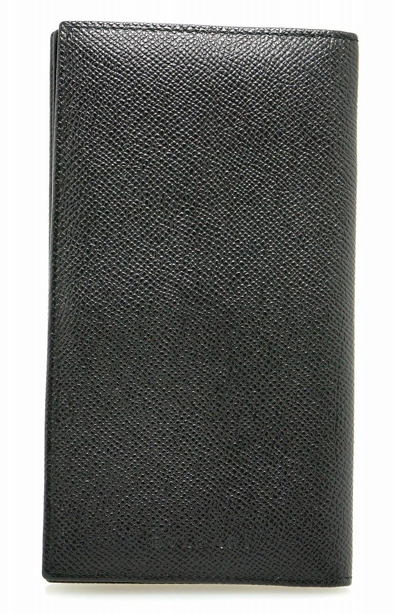 【財布】BVLGARI ブルガリ グレインレザー 2つ折 長札入れ 型押しレザー カーフ 黒 ブラック メンズ 20308 【中古】【k】【Blumin 市場店】
