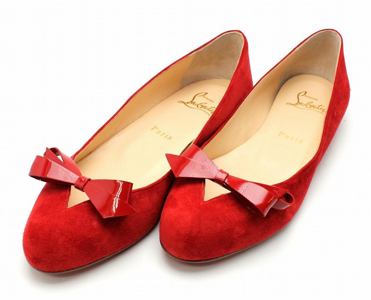 【新品未使用品】【靴】Christian Louboutin クリスチャン ルブタン フラットパンプス バレエパンプス 靴 スエード エナメル リボン レッド 赤 サイズ36.5 1170185【k】