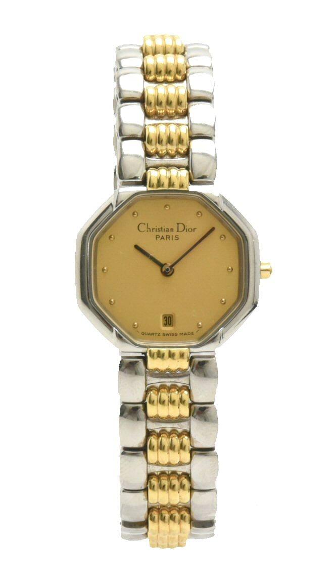 【ウォッチ】Christian Dior クリスチャン ディオール スウィング スイング デイト ゴールド文字盤 SS GP コンビ レディース クォーツ 腕時計 D48-203-1 【中古】【u】