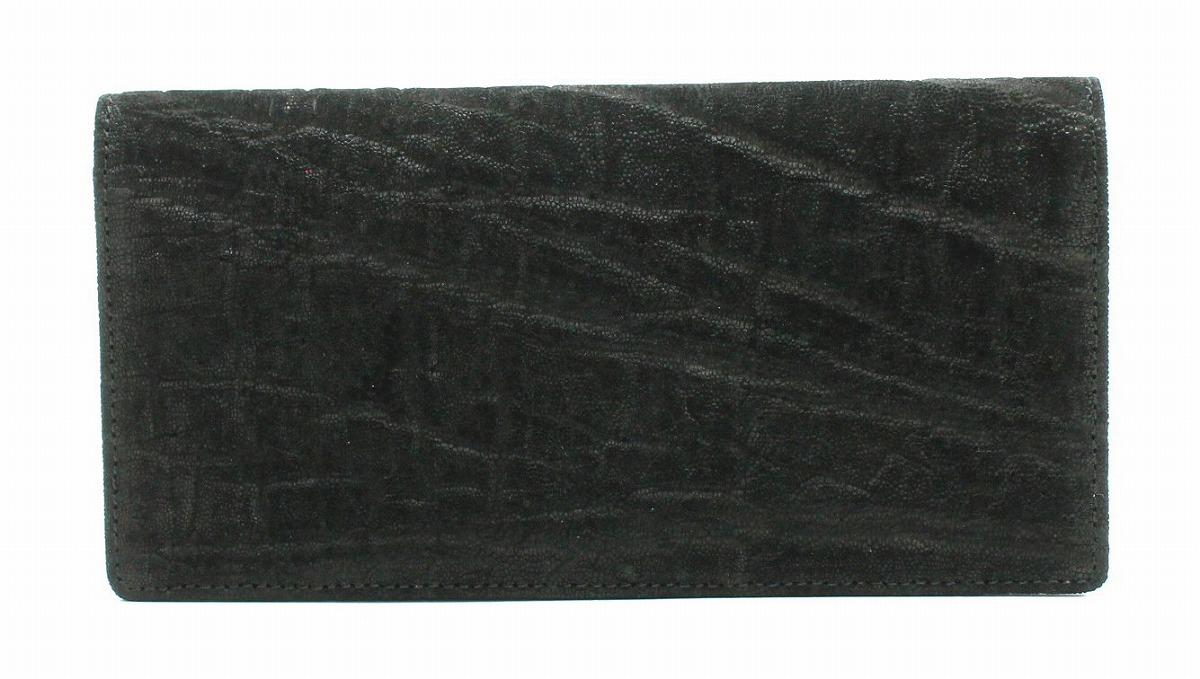 【新品未使用品】【財布】 象革 ゾウ 象 長財布 二つ折り 財布 黒 ブラック レザー 【u】