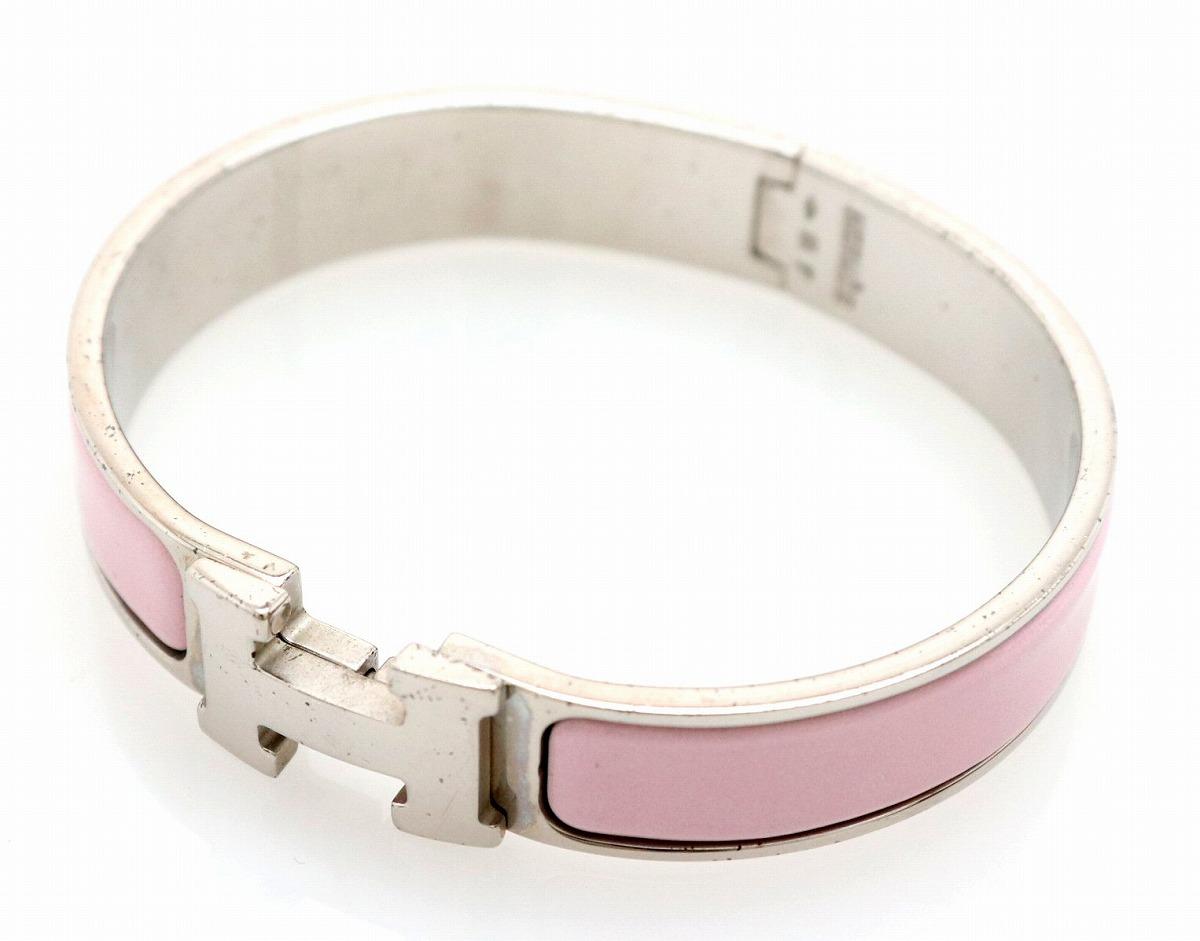 【ジュエリー】HERMES エルメス クリッククラック ブレスレット バングル シルバー色 ピンク 【中古】【u】