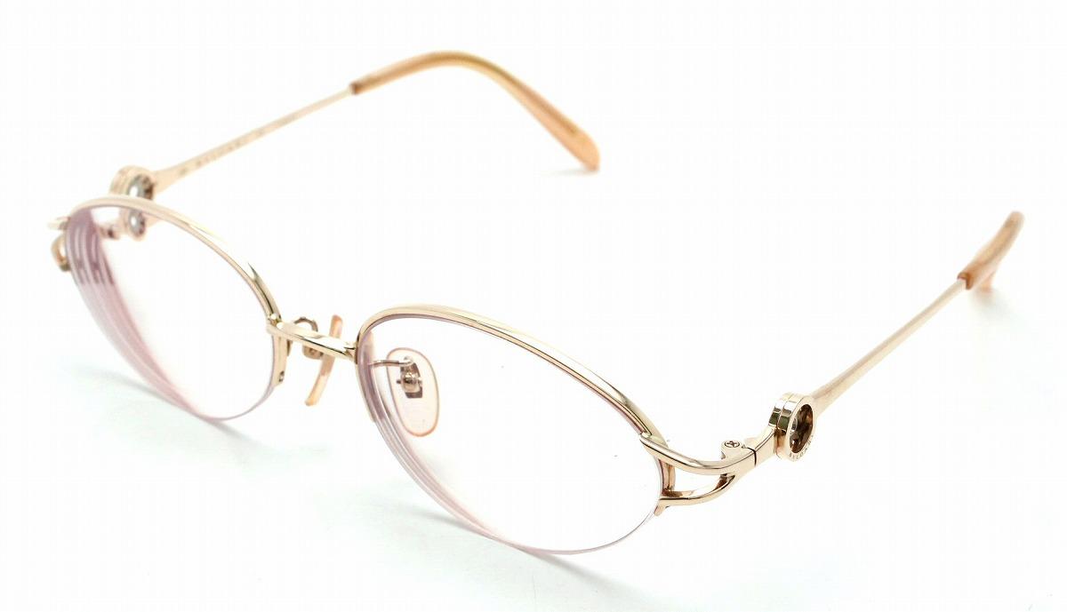 BVLGARI ブルガリ ブルガリブルガリ 眼鏡 めがね メガネ 度入り K18PG ピンクゴールド フレーム BV281K 496 【中古】