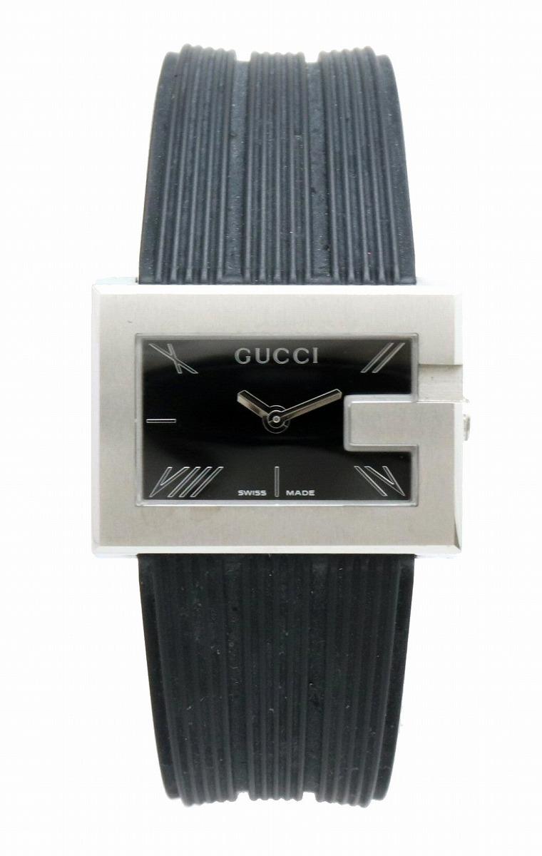 【ウォッチ】GUCCI グッチ Gレクタングル ブラック文字盤 SS レディース QZ クォーツ 腕時計 100L 【中古】【u】