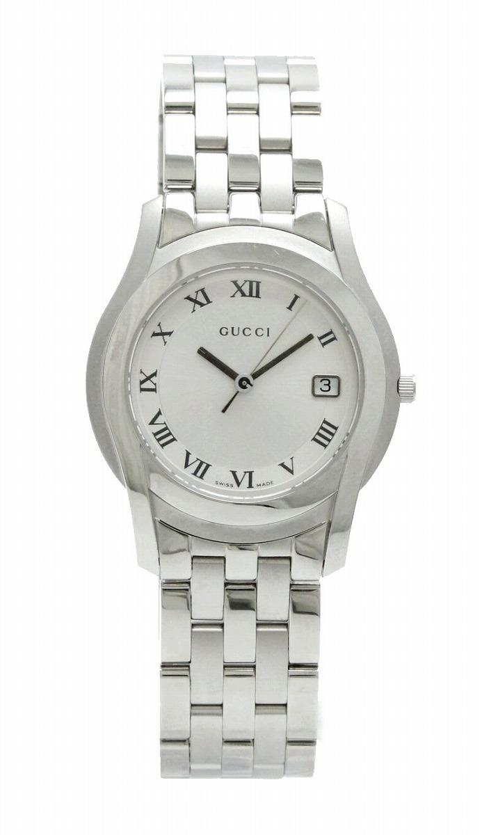 【新品未使用品】【ウォッチ】GUCCI グッチ シルバー文字盤 デイト メンズ QZ クォーツ 腕時計 5500M 【k】