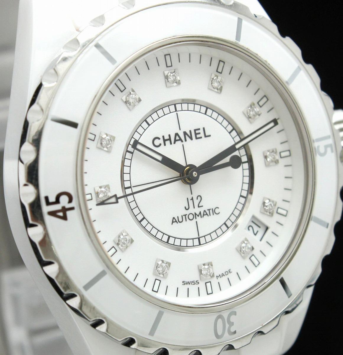 19cc9ab488a5 【ウォッチ】CHANELシャネルJ12白セラミックホワイトセラミック12Pダイヤデイト38mmメンズAT
