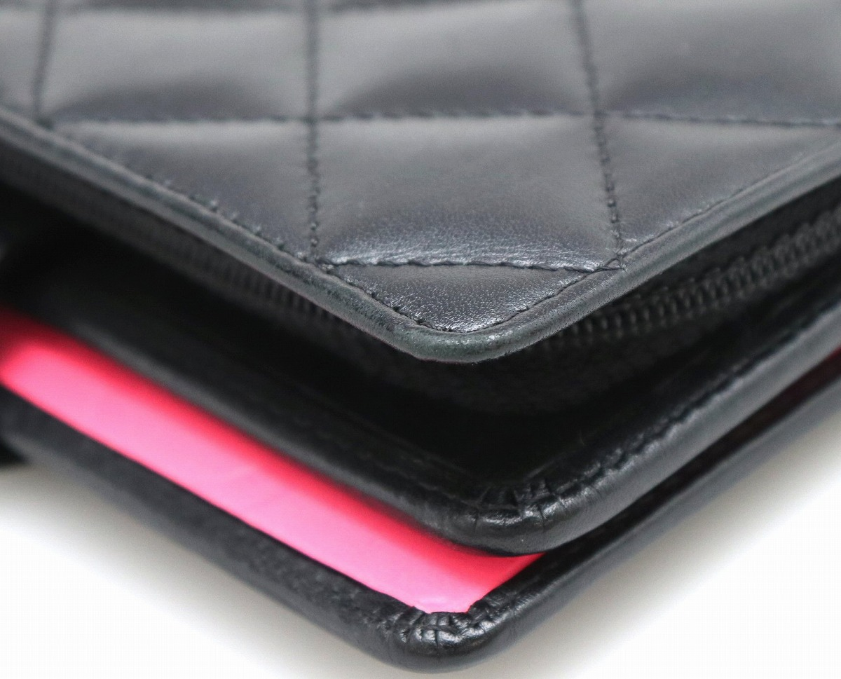 390bdabef6bc 【財布】CHANELシャネルカンボンラインココマークラウンドファスナー2つ折財布レザーソフトカーフ
