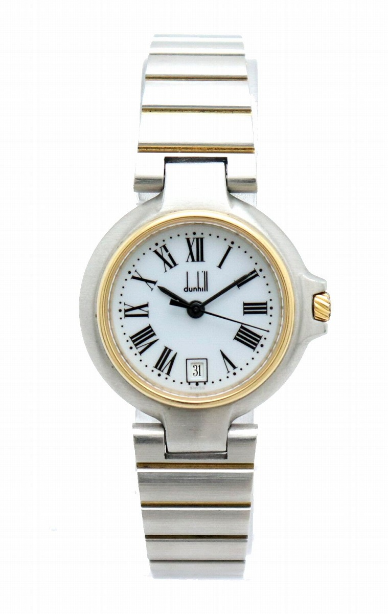 【ウォッチ】dunhill ダンヒル ミレニアム ホワイト文字盤 ローマンインデックス 26MM レディース クォーツ 腕時計 【中古】【u】