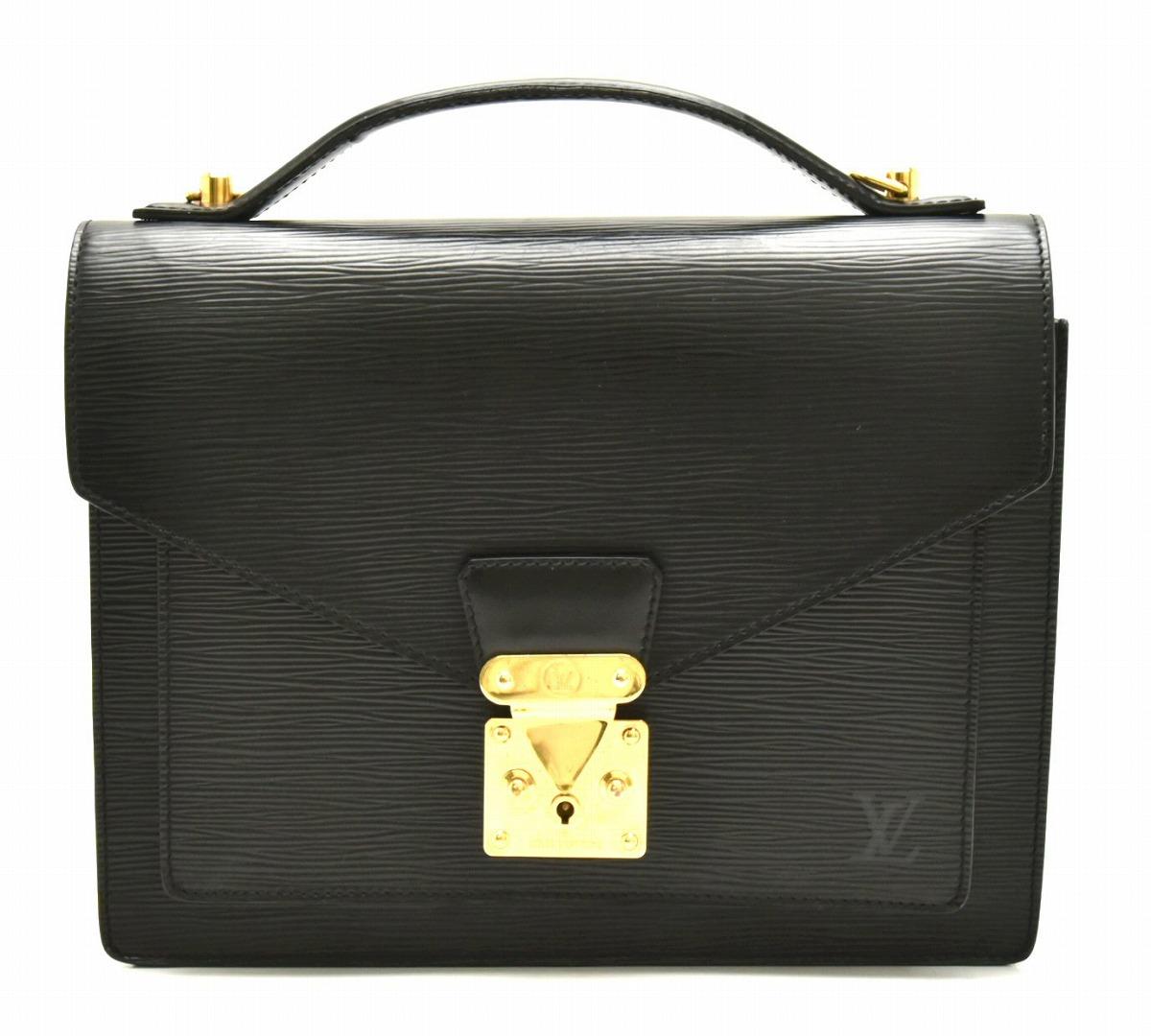 【バッグ】LOUIS VUITTON ルイ ヴィトン エピ モンソー28 セカンドバッグ クラッチバッグ レザー ノワール 黒 ブラック ゴールド金具 M52122 【中古】【k】