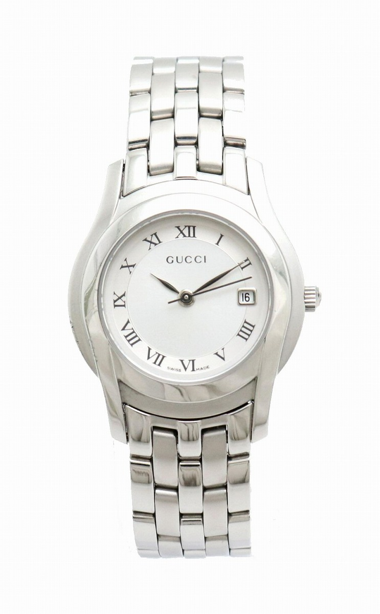 【ウォッチ】GUCCI グッチ シルバー文字盤 デイト SS レディース QZ クォーツ 腕時計 5500L 【中古】【u】