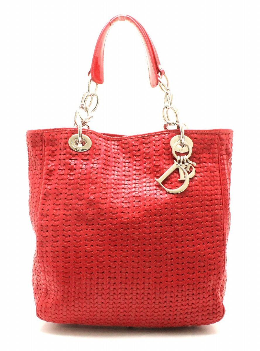 【バッグ】Christian Dior クリスチャン ディオール イントレチャート レディディオール トートバッグ ハンドバッグ 赤 レッド シルバー金具 【中古】【k】