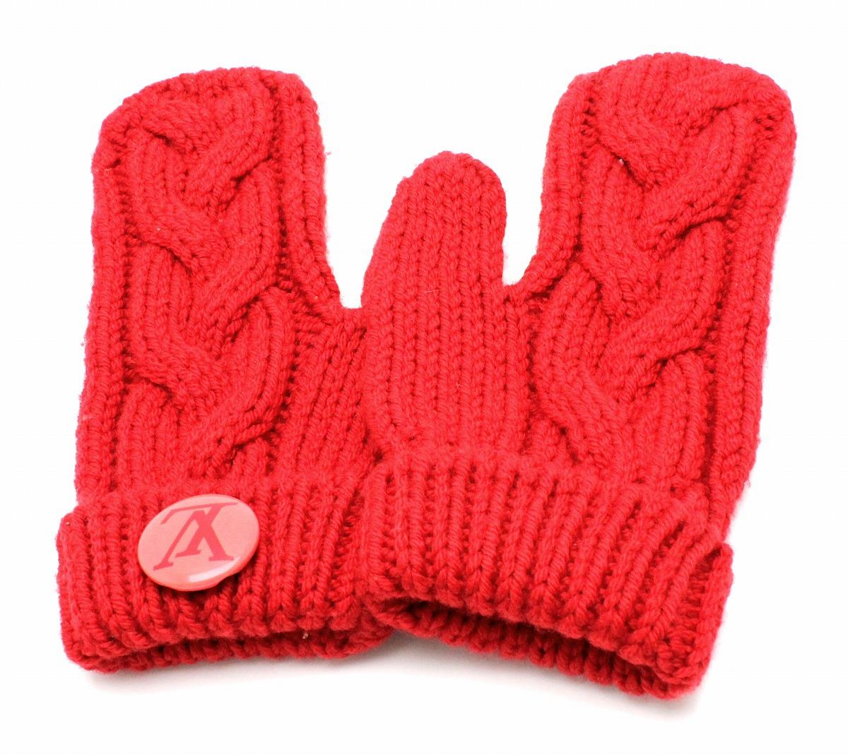 LOUIS VUITTON ルイ ヴィトン ミトン エシャルプ コンスタンス ロゴ グローブ 手袋 ウール100% レッド 赤 【中古】【k】