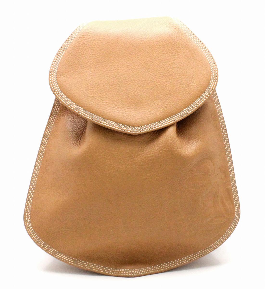 【バッグ】LOEWE ロエベ リュックサック バックパック レザー キャメル ブラウン 茶 ゴールド金具 【中古】【k】