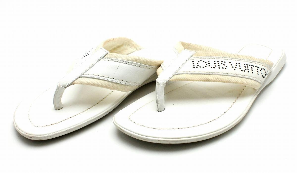 【靴】LOUIS VUITTON ルイ ヴィトン メンズ トングサンダル ビーチサンダル レザー キャンバス ホワイト 白 サイズ#5 24-24.5cm 【中古】【k】