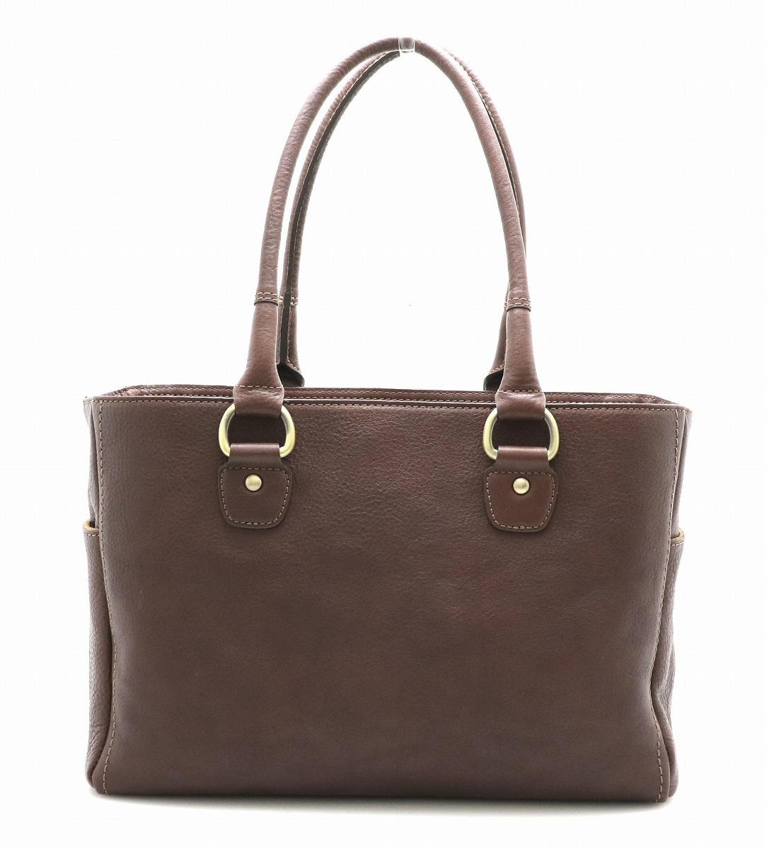 【バッグ】Tsuchiya bag ツチヤ カバン 土屋鞄製造所 ハンドバッグ 茶 ブラウン ゴールド金具 【中古】【k】