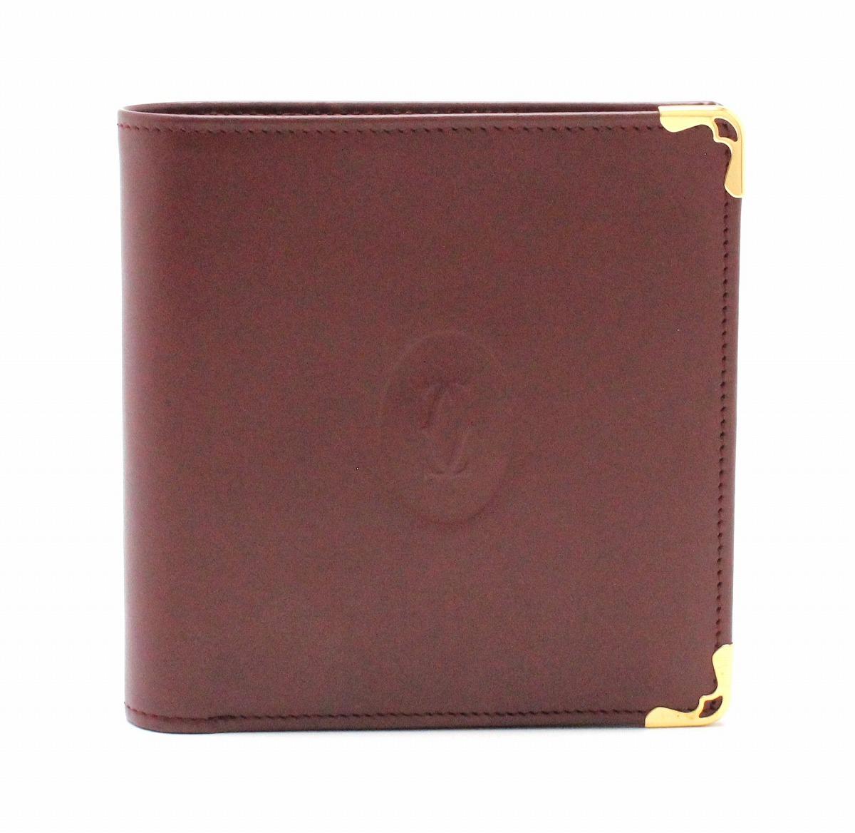 【未使用品】【財布】Cartier カルティエ マストライン 2つ折 財布 レザー カーフ ボルドー ゴールド金具 メンズ L3000451 【中古】【k】