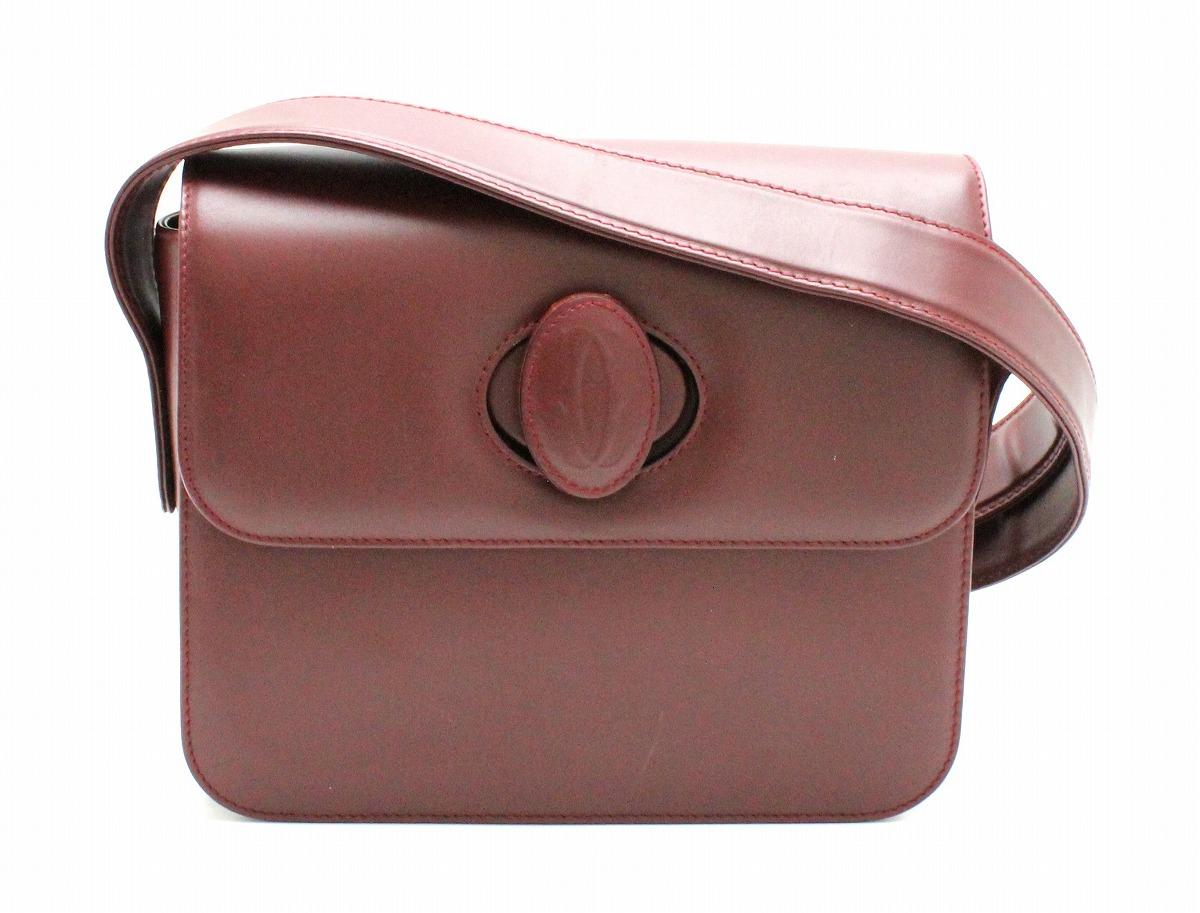 【バッグ】Cartier カルティエ マストライン ショルダーバッグ 肩掛け 斜め掛けショルダー カーフレザー ボルドー ゴールド金具 【中古】【k】