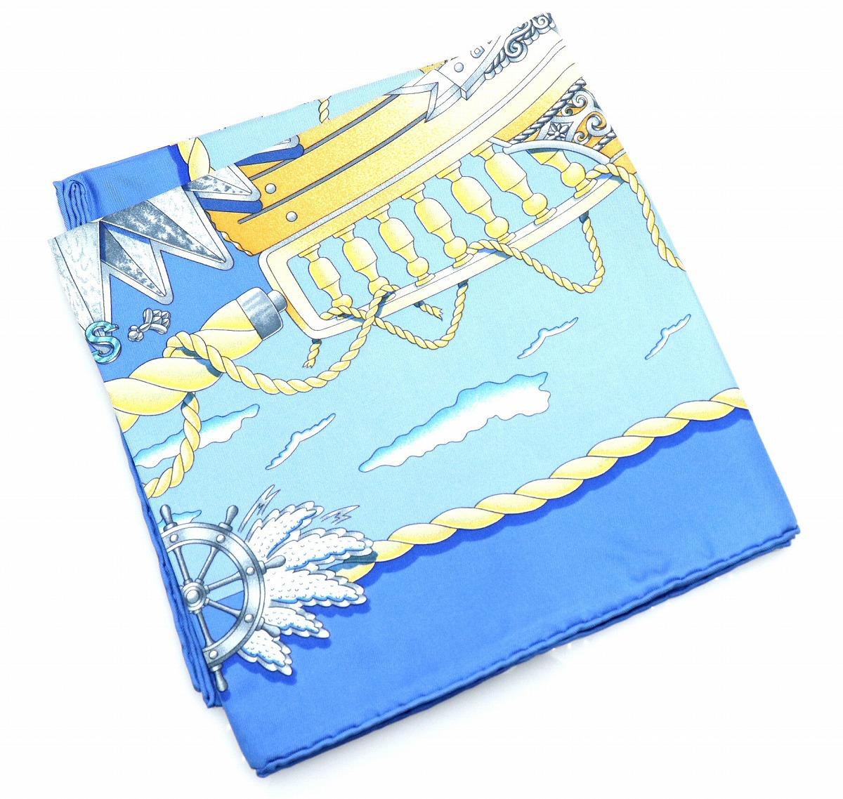 【未使用品】【アパレル】HERMES エルメス カレ90 RAILING 船の手摺スカーフ 大判スカーフ シルク100% ブルー系 青 マルチカラー 【中古】【k】