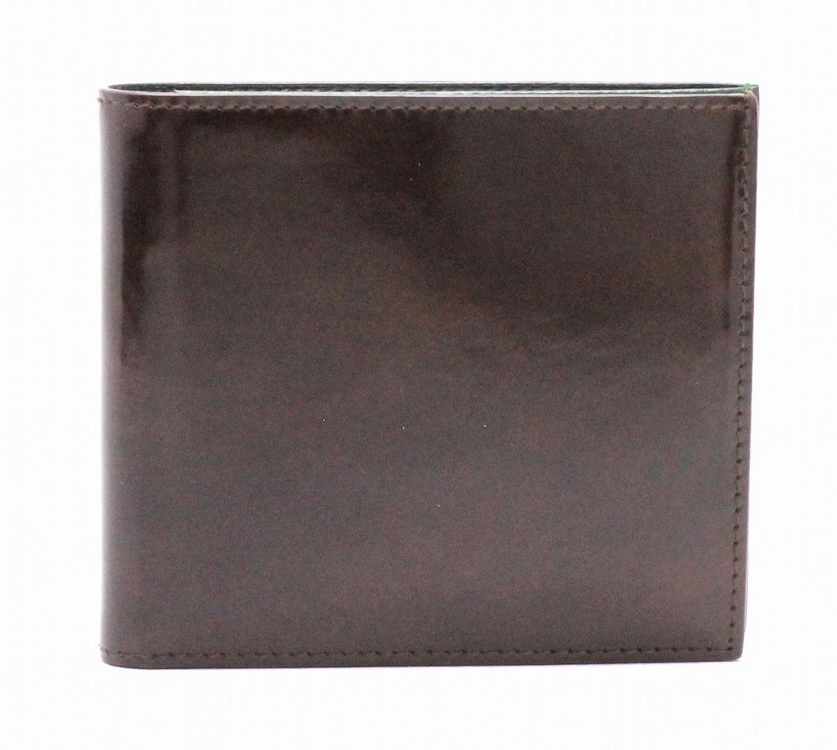【財布】 dunhill ダンヒル 2つ折り財布 クラブライン カーフ エナメル グリーン 緑 ブラウン 茶 FT3001B 【中古】【k】