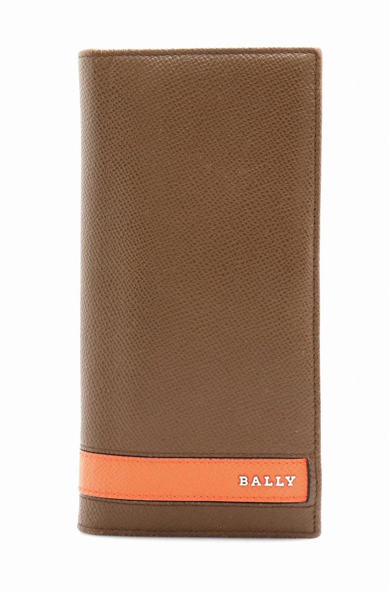 【財布】BALLY バリー 2つ折 ファスナー長財布 型押しレザー 茶 ブラウン オレンジ 【中古】【k】