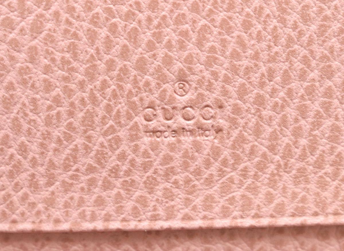 GUCCI グッチ スウィング カードケース レザー ロゴ ブラウン 茶 ピンク 381045kOPuZwkXTi