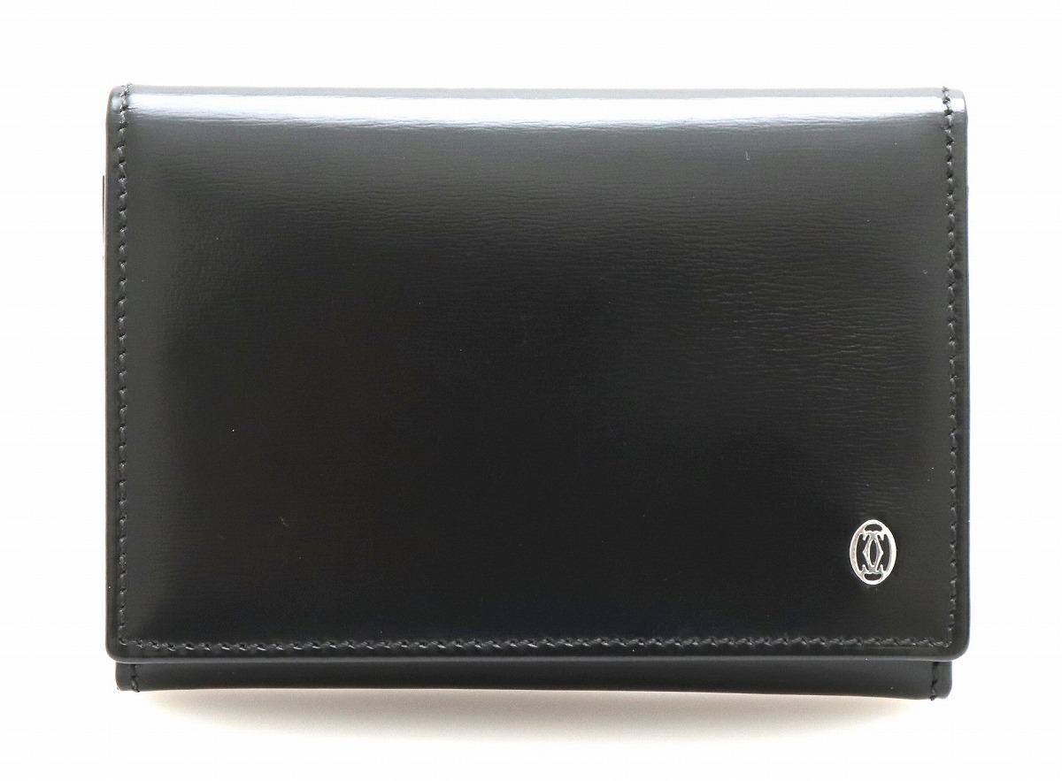 Cartier カルティエ パシャ カードケース 名刺入れ カーフ レザー 黒 ブラック シルバー金具 L3000132 【中古】【k】