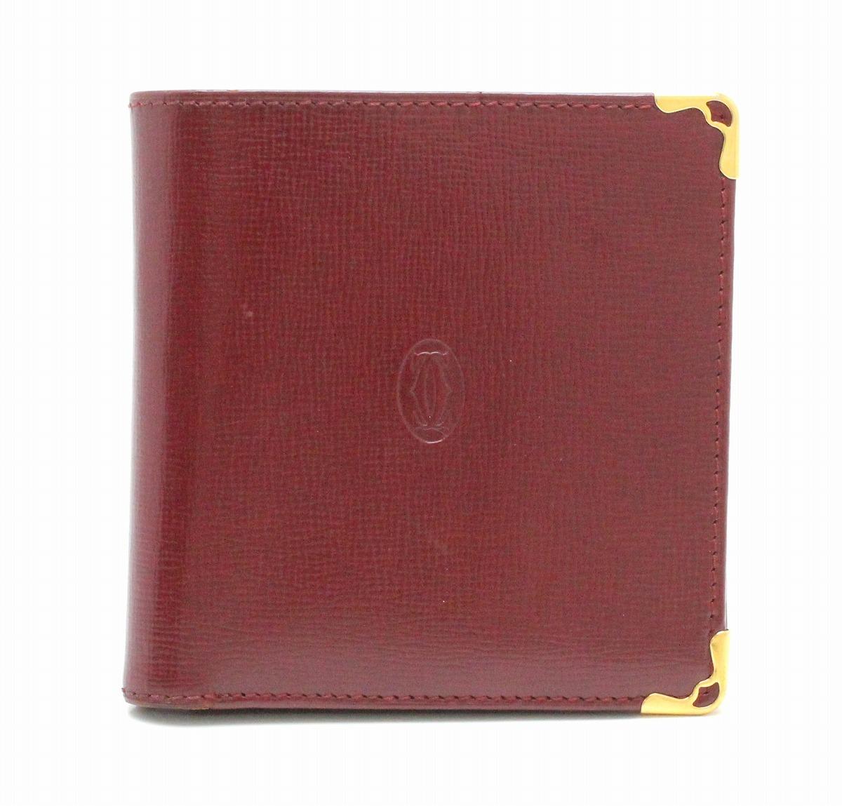 【財布】Cartier カルティエ マストライン マスト ドゥ カルティエ 2つ折財布 ボルドー 【中古】【k】