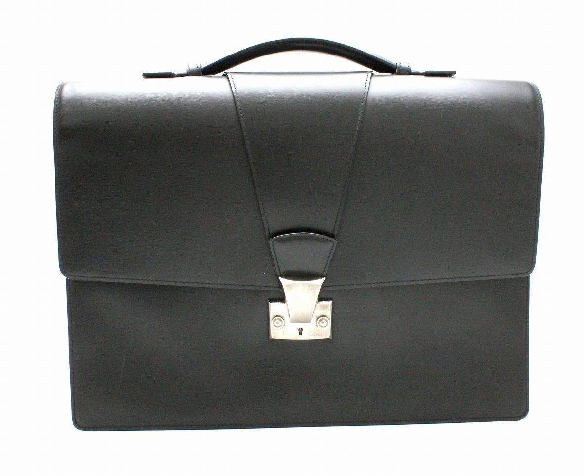 【バッグ】Cartier カルティエ トラディション ブリーフケース ビジネスバッグ 書類カバン ボックスカーフ 黒 ブラック L2000033 【中古】【k】