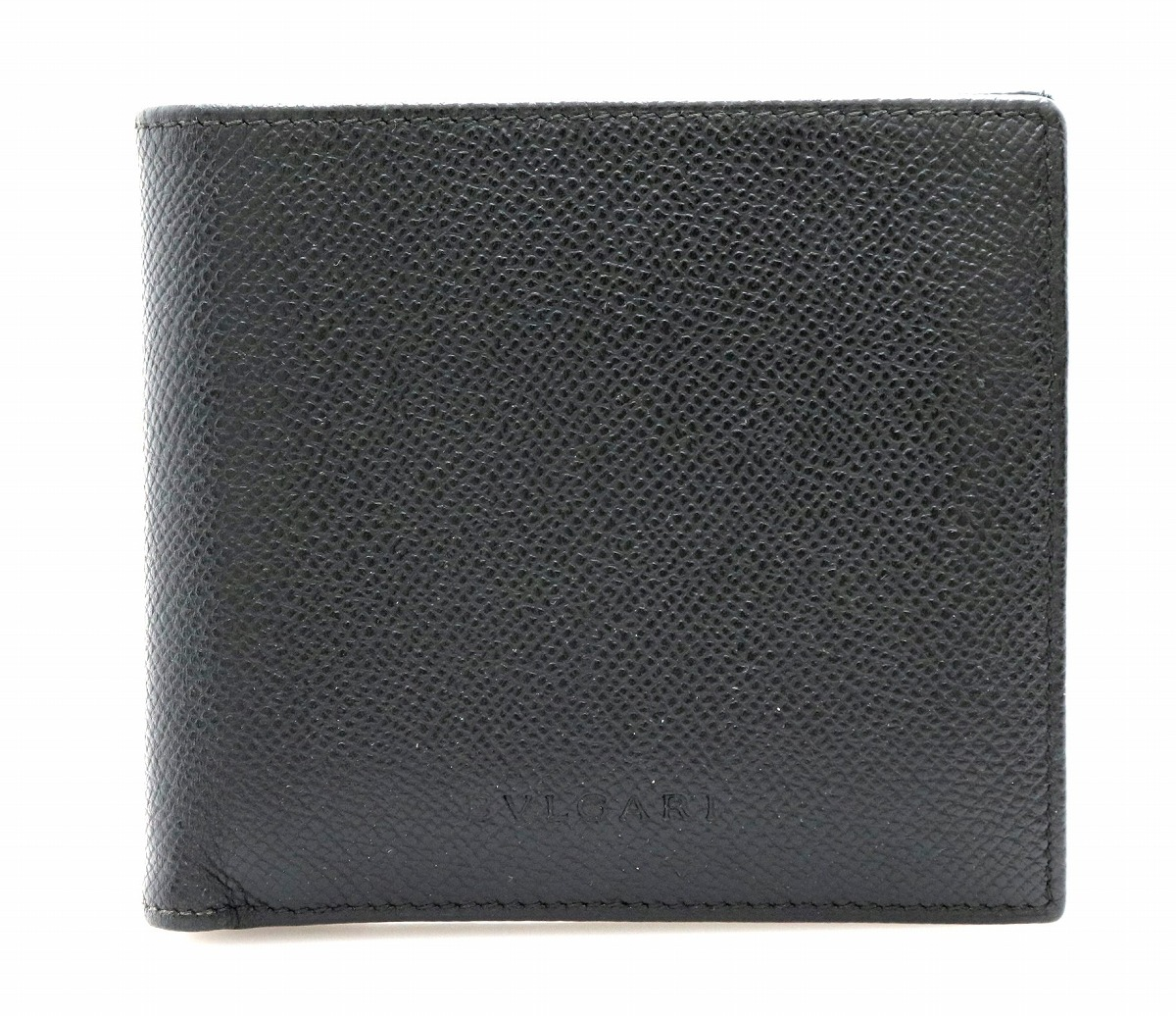 d2e572b05eab 【財布】BVLGARI ブルガリ グレインレザー 2つ折財布 黒 ブラック 20253 【中古】