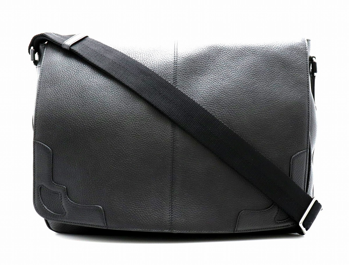 【バッグ】Cartier カルティエ マルチェロ レザー ショルダーバッグ 黒 ブラック シルバー金具 【中古】【k】