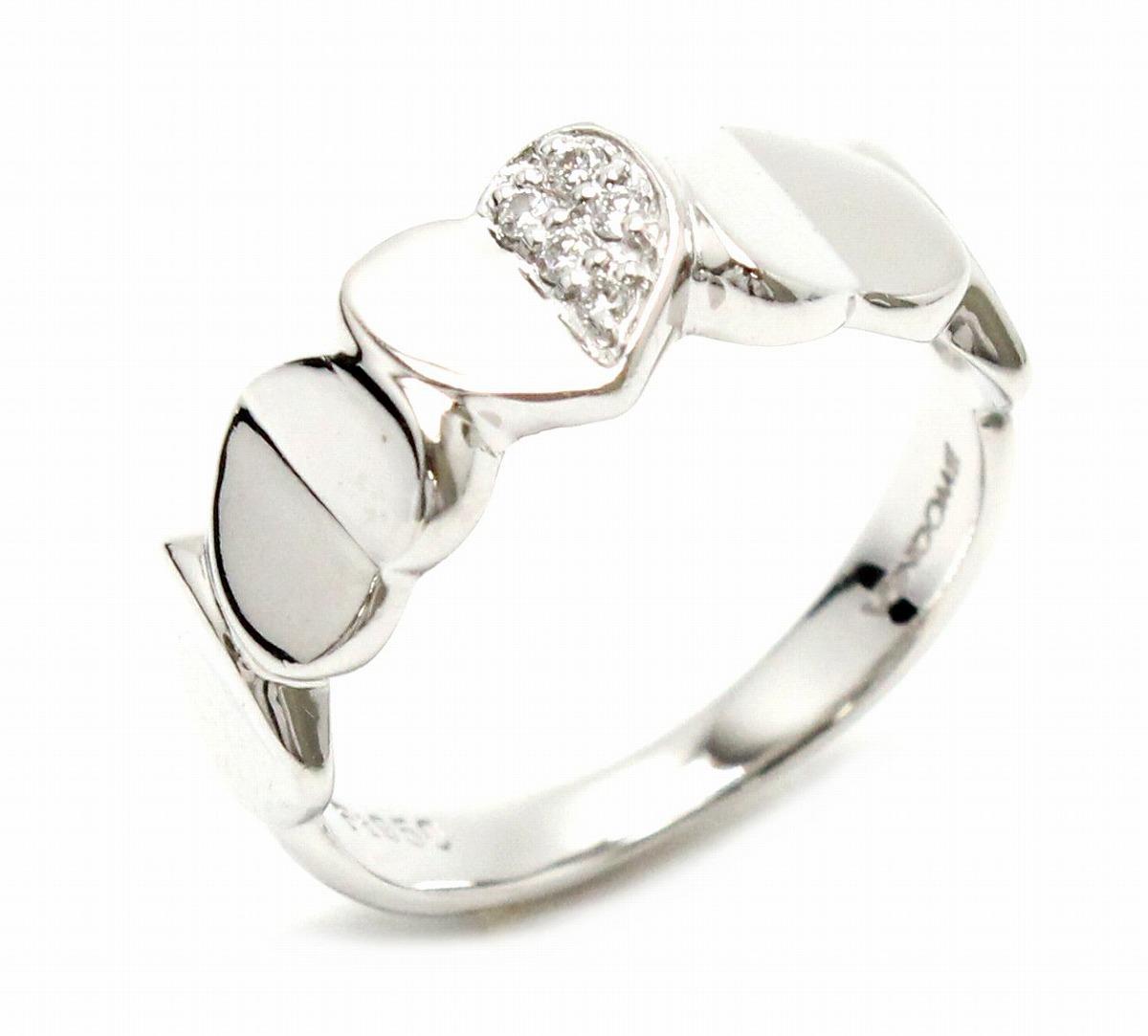 【ジュエリー】VENDOME AOYAMA ヴァンドーム 青山 Pt950 プラチナ ダイヤ リング ハートモチーフ 指輪 7.5号 #7.5 ダイヤモンド 【中古】【k】