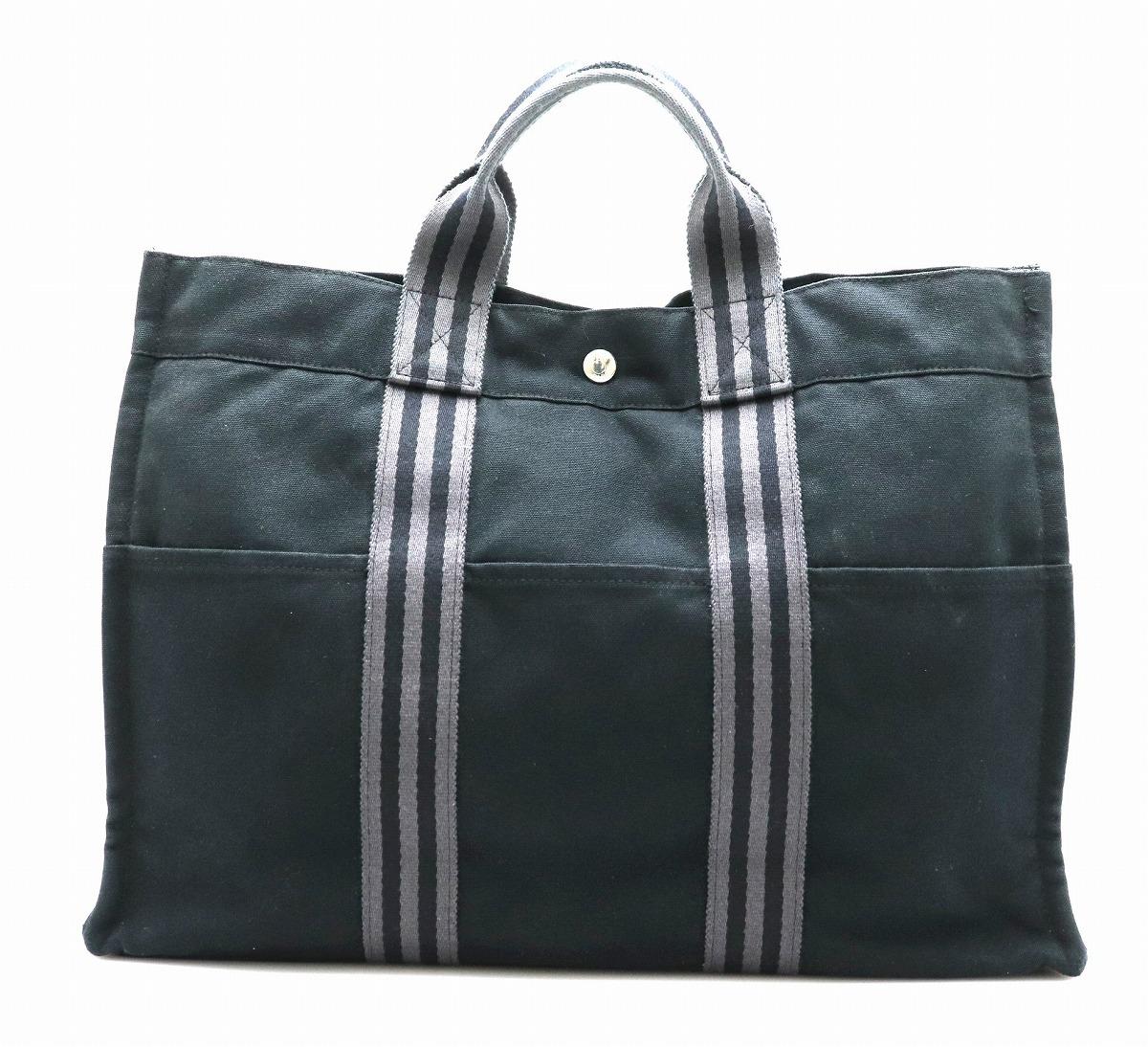 【バッグ】HERMES エルメス フールトゥ トートMM トートバッグ ハンドバッグ キャンバス ブラック 黒 グレー 灰色 【中古】【k】