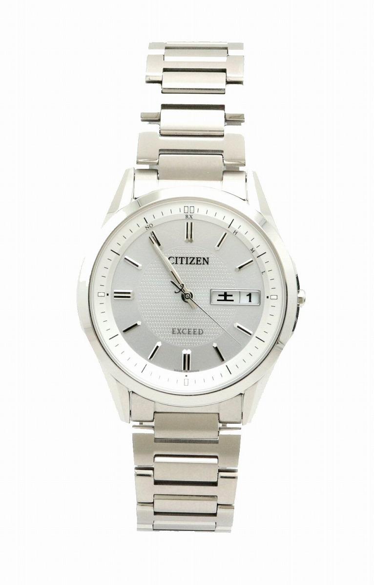【ウォッチ】CITIZEN シチズン エクシード エコドライブ 電波時計 ソーラー デイデイト シルバー文字盤 チタン メンズ 腕時計 H100-T021212 AT6030-60A 【中古】【k】